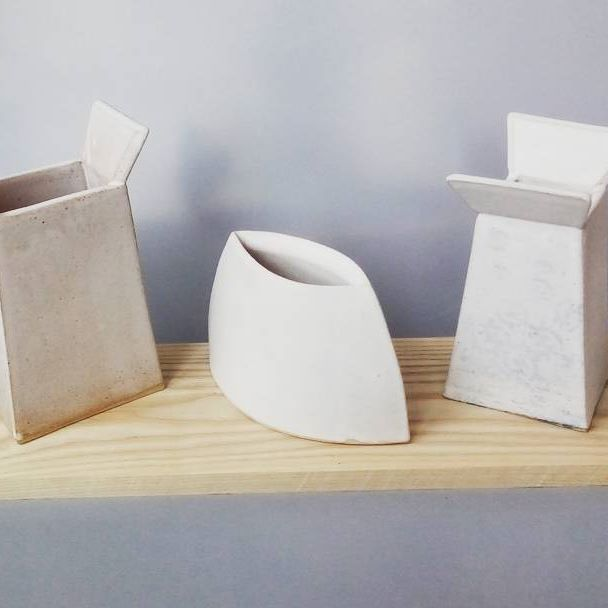 Slab built stoneware vessels